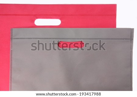 Synthetic fabric bag isolated on white background