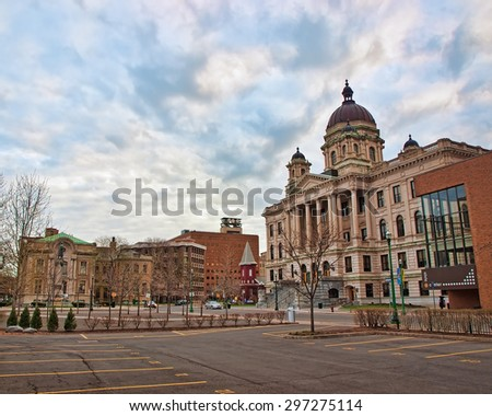 Syracuse, New York, USA. April 26,2015. View of Syracuse Court House and Columbus Circle in downtown Syracuse, New York