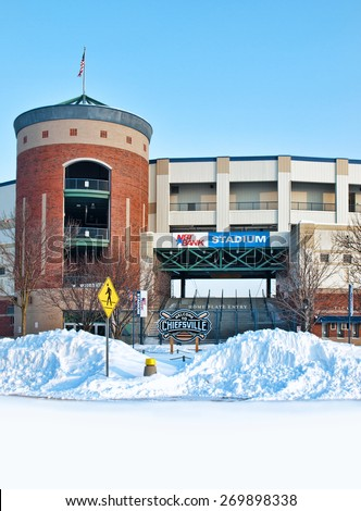 Syracuse, New York, USA. Febuary 18, 2015. View of the NBT Bank Stadium , home of the Syracuse Chiefs minoe league baseball team, in wintertime