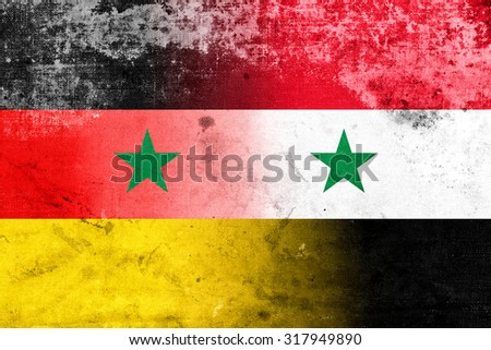 Syria and Germany Flag with a vintage, old look - stock photo