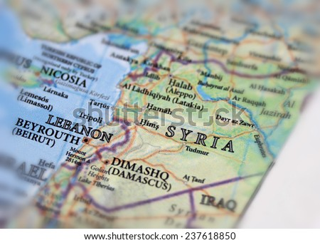 Syria and Lebanon map close up - stock photo