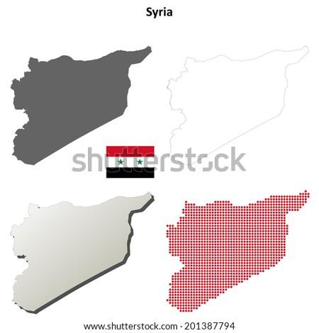 Syria blank detailed outline map set - jpg version  - stock photo