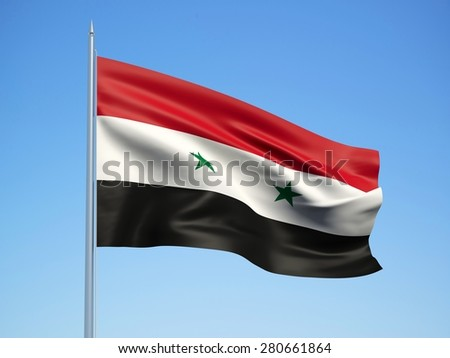 Syria 3d flag floating in the wind with a blue sky background - stock photo