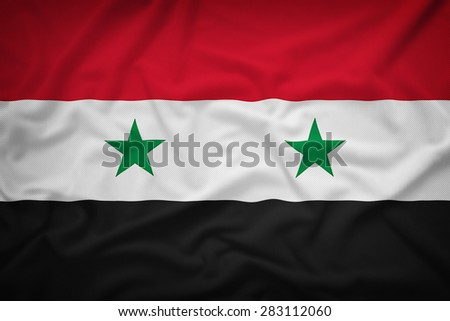 Syria flag on the fabric texture background,Vintage style - stock photo
