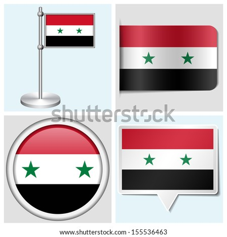 Syria flag set of various sticker button label and flagstaff