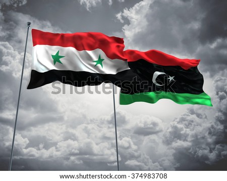 Syria & Libya Flags are waving in the sky with dark clouds - stock photo