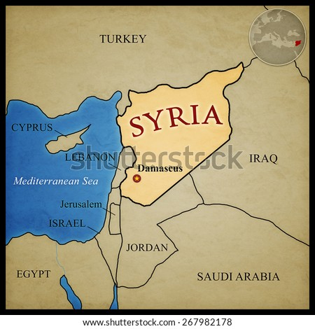 Syria map and bordering countries with capital Damascus marked. With location in the middle east. - stock photo
