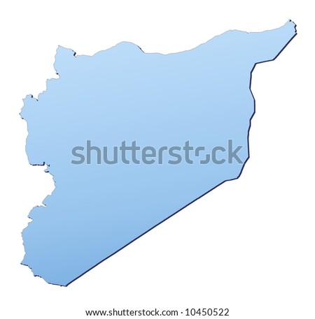 Syria map filled with light blue gradient. High resolution. Mercator projection. - stock photo