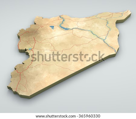 Syria map, physical map, hand drawn, 3d - stock photo