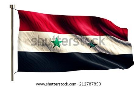Syria National Flag Isolated 3D White Background - stock photo