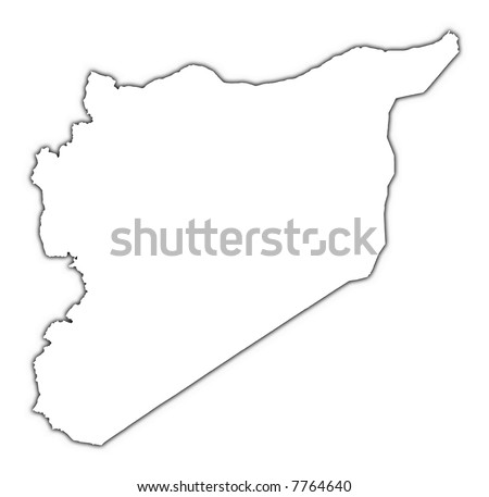 Syria outline map with shadow. Detailed, Mercator projection. - stock photo