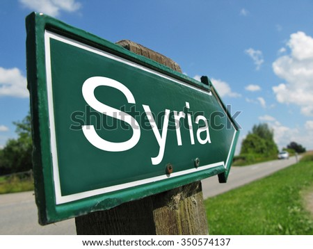 SYRIA signpost along a rural road