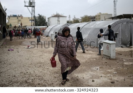 Syrian refugees families who came from Kobani district living in refugees tent in Suruc district, 16 October 2015 , Turkey , Sanliurfa.