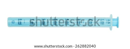 Syringe, blue tube measured for dispensing of children's medicinal syrup, isolated on the white. - stock photo