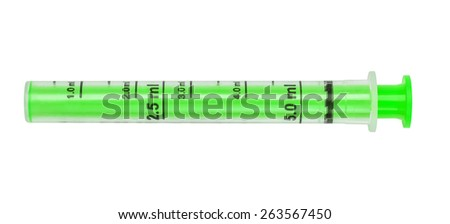 Syringe, green tube measured for dispensing of children's medicinal syrup, isolated on the white. - stock photo