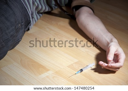 syringe,hand,medical,vein,narcotist,cocaine - stock photo