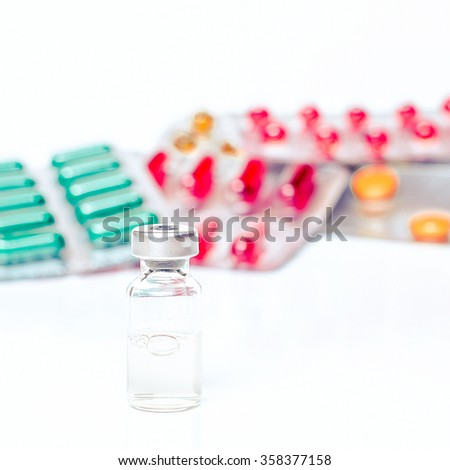 Syringe, medical injection with bottle. Medicine isolated plastic vaccination equipment with needle on white background. Liquid drug or narcotic. Health care in hospital. Flu, ill, diagnostic. - stock photo