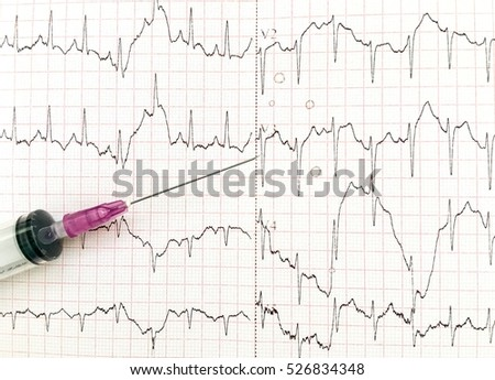 Syringe on EKG graph background - Selective focus