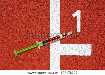 Syringe on race track