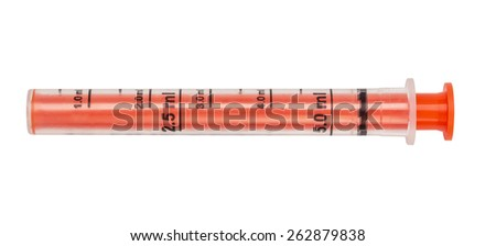 Syringe, orange tube measured for dispensing of children's medicinal syrup, isolated on the white. - stock photo