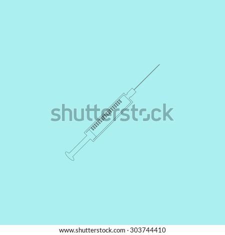 Syringe. Outline simple flat icon isolated on blue background - stock photo