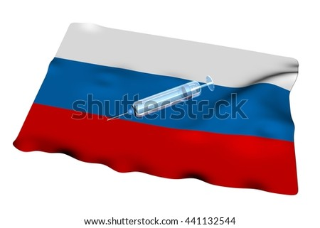Syringe over Russian flag, isolated over white, 3d rendering