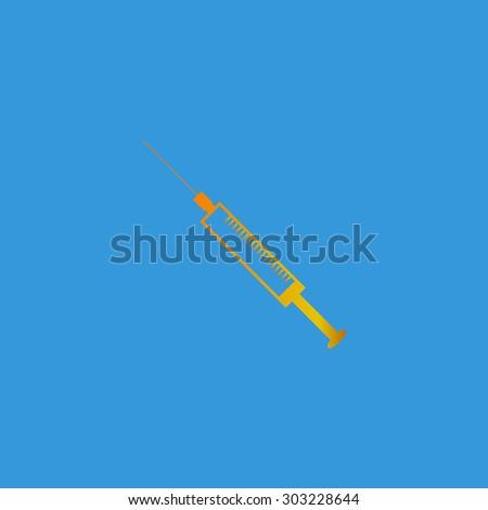 Syringe. Simple flat icon on blue background - stock photo