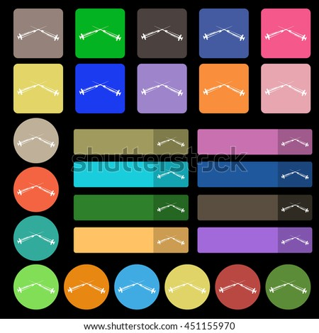 Syringes icon sign. Set from twenty seven multicolored flat buttons. illustration - stock photo
