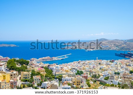 Syros island, Cyclades. Panoramic view of one of the most beautiful islands in Greece during summer.