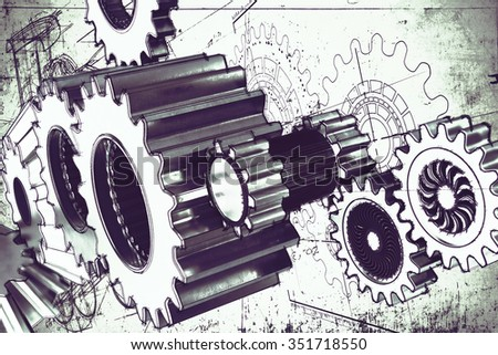 System of a mechanism gear stuck together - stock photo