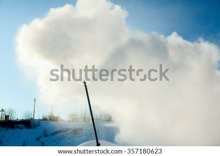 System of artificial snowmaking. Snowmaking is the production of snow by forcing water and pressurized air through a snow gun or snow cannon, on ski slopes.