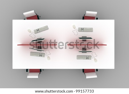 System office desks with partitions.Furniture isolated on gray background. Top view