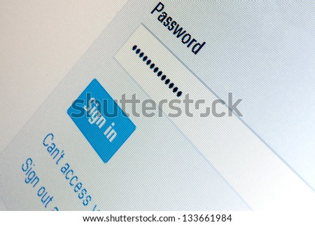 System sign in html page on computer LCD monitor - stock photo
