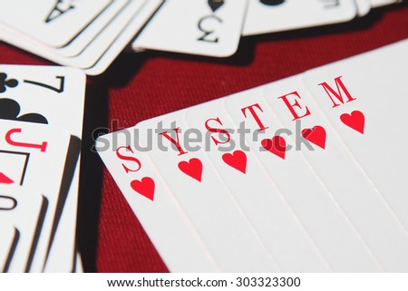 SYSTEM word written on card