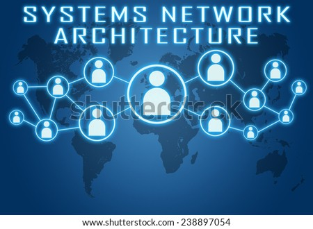 Systems Network Architecture concept on blue background with world map and social icons. - stock photo