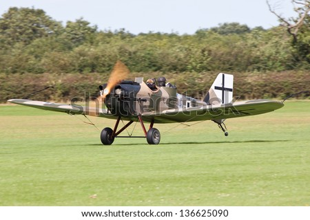 SYWELL AERODROME, NORTHAMPTONSHIRE, UK - AUGUST 18: Junkers CL. I -1803 replica of the Great War Display Team (GWDT) on August 18, 2012 at the Sywell Fly-in at Sywell Aerodrome, Northamptonshire, UK.