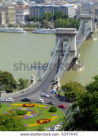 Széchenyi Chain Bridge was designed by the English engineer William Tierney Clark in 1839, after Count Istvan Széchenyi's initiative in the same year. - stock photo