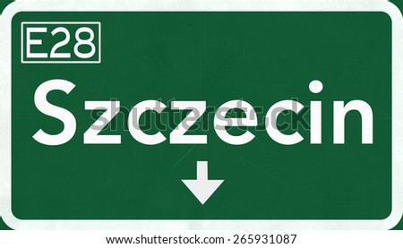 Szczecin Poland Highway Road Sign