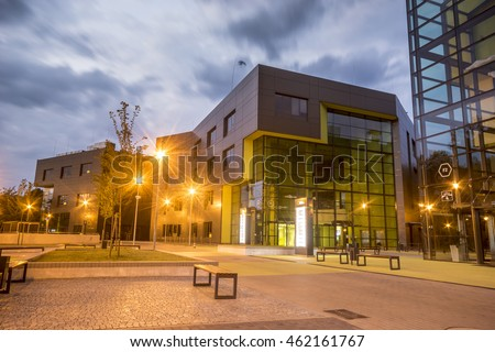 SZCZECIN,POLAND-27 JULY 2016:Modern office building in the evening