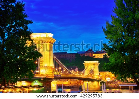Szechenyi Chain Bridge view from Pest side at nightime. Budapest, Hungary.