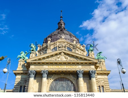 Szechenyi Medicinal Bath in Budapest, Hungary, is the largest medicinal bath in Europe. The bath can be found in the City Park, and was built in 1913 in Neo-baroque style to design of Gyozo Czigler. - stock photo