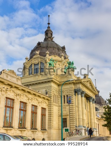 Szechenyi public thermal bath building, Budapest, Hungary - stock photo
