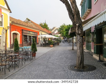 SZENTENDRE, HUNGARY - SEPTEMBER 23, 2015: The small street in town of artists, galleries and museums