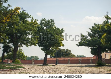SZENTENDRE, HUNGARY,  summer paved area with trees - stock photo