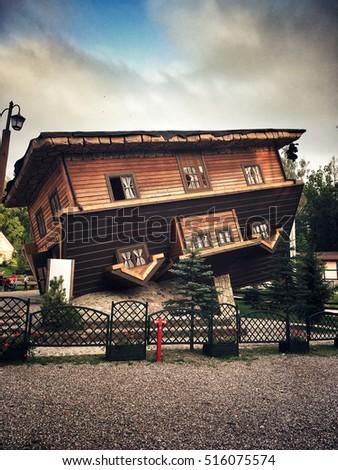 Szymbark, Poland - September 10, 2016: Upside down house in amusement park  in