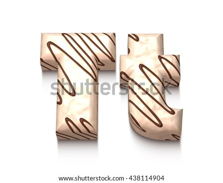 T letter of white chocolate with brown cream in 3d rendered on white background. - stock photo