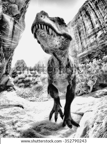 t-rex black and white