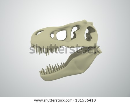 T-Rex 3d skull - stock photo