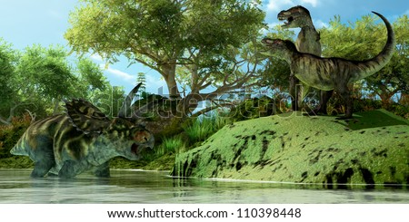 T-Rex Defiance - Two Tyrannosaurus dinosaurs roar in frustration as Coahuilaceratops dinosaur uses the water as a refuge from attack. - stock photo