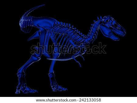 T-Rex Skeleton in blue - stock photo